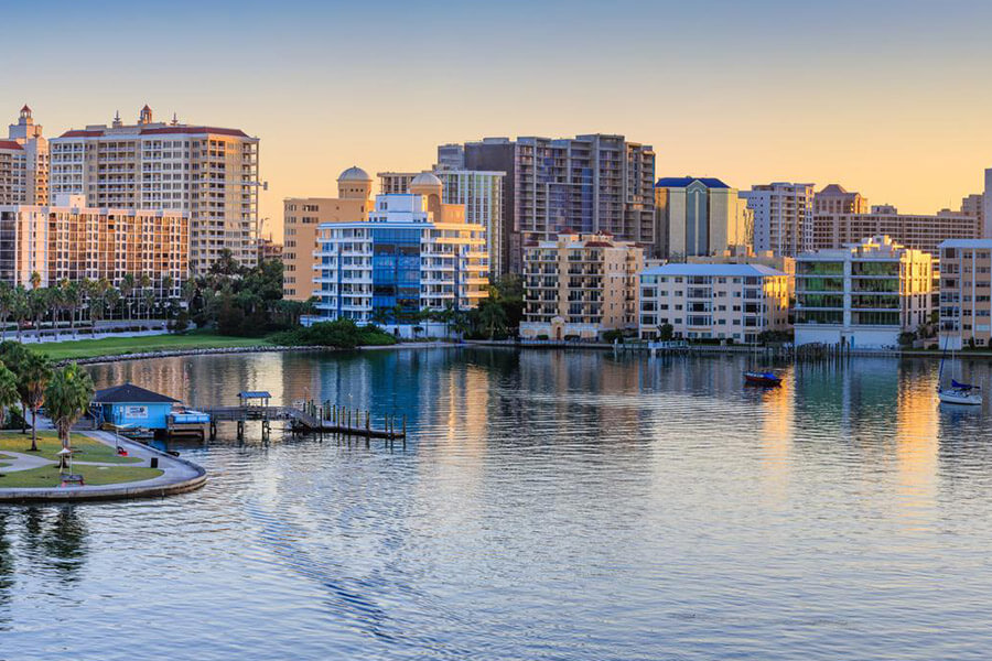 Skyline of Sarasota Fl showing all of the downtown commercial buildings.