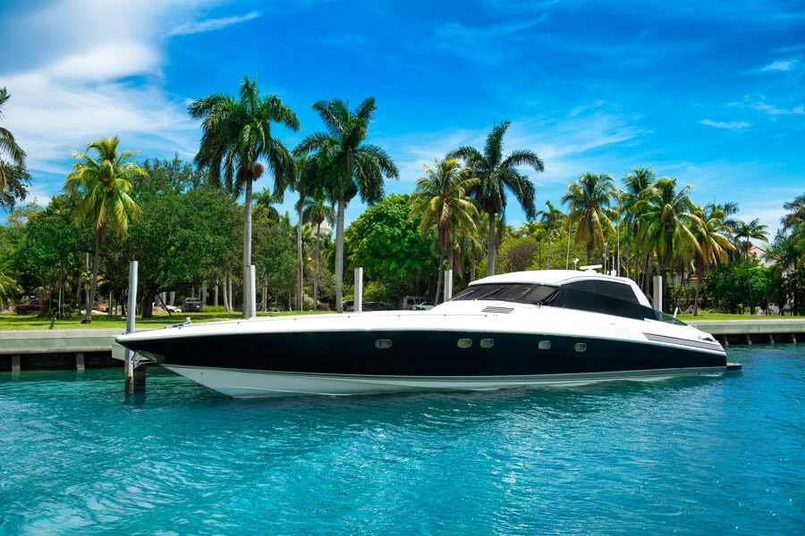 75 foot yacht docked with tinted film windows.